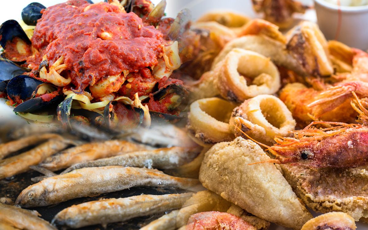 The Feast of Seven Fishes traditionally involves any assortment of shellfish, finned fish, crustaceans, and bi-valves. Held every year on Christmas Eve, no land-based meats are served on this night.