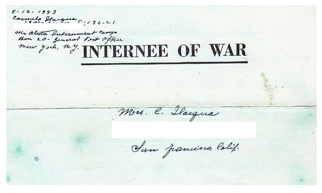 Address panel of an Italian Internee's letter home during captivity in a US internment camp during World War 2